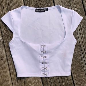 White Pretty Little Thing Short Sleeve Top